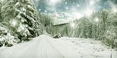 Winter road in the mountains