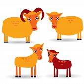 Ram, Ewe And Lamb. Set Of Funny Animals With Cubs On White Background. Vector
