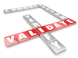 stock photo of objectives  - Validate word on 3d letter game tiles spelling words like certify - JPG