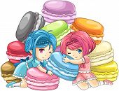 pic of nymph  - Cute cartoon macaron nymphs the goddess of candy with pile of colorful macarons in the background create by vector - JPG