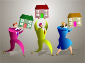 stock photo of real-estate-team  - team of real estate people selling houses  - JPG