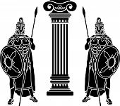 picture of hoplite  - two hoplits and column - JPG