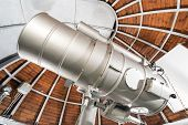 stock photo of astronomy  - Modern astronomy telescope in an astronomical observatory UJ Krakow Poland - JPG