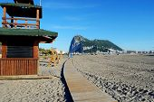 foto of gibraltar  - View of the Rock of Gibraltar seen from a La Linea beach in Spain Gibraltar United Kingdom Western Europe - JPG
