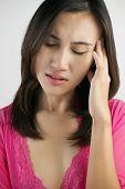 image of suffering  - Portrait of woman suffering Headache - JPG
