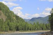 picture of raft  - Rafting on a Siberian river Oka among the mountains of Tien Shan