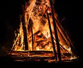 foto of bonfire  - Big bonfire at night - JPG