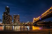 foto of nightfall  - Brisbane city Skyline at night. Storey Bridge. ** Note: Visible grain at 100%, best at smaller sizes - JPG