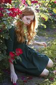 pic of auburn  - Beautiful young caucasian woman with auburn hair freckles and green eyes sitting in the rose garden - JPG