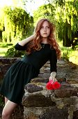 picture of auburn  - Young woman with auburn hair in the swamps posing with red flowers - JPG