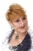 picture of face painting  - Abstract Color Painting of Side Profile of Smiling Middle Aged Woman Face - JPG
