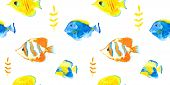 foto of spearfishing  - Vector seamless pattern watercolor seawater aquarium fishes - JPG