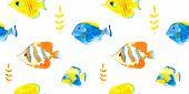 foto of spearfishing  - Vector seamless pattern watercolor seawater aquarium fishes - JPG