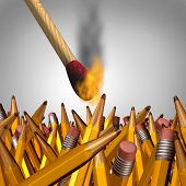 stock photo of dangerous situation  - Creative burnout business concept as an ignited match stick burning yellow pencils and as a symbol for education and learning risks and dangers - JPG
