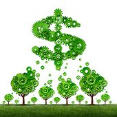 stock photo of crowd  - crowdfunding investing and collective income concept as a group of green trees made of gears contributing to a dollar sign symbol shaped with cog wheels as a crowd funding idea - JPG