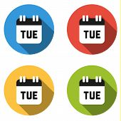 stock photo of tuesday  - Set of 4 isolated flat colorful buttons for Tuesday  - JPG