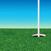 pic of flag pole  - green golf field and golf hole with flag pole in clear blue sky background vector illustration - JPG