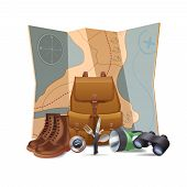 picture of binoculars  - Tourism and hiking concept with realistic boots backpack binoculars vector illustration - JPG