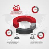 picture of composition  - Business management team demographic composition man woman percentage circle diagram infographic report flat poster abstract vector illustration - JPG