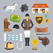 pic of trophy  - Jockey decorative icons flat set with horse grooming brush champion trophy isolated vector illustration - JPG