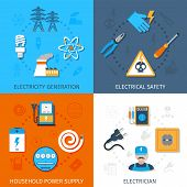 stock photo of electric socket  - Electricity design concept set with generation electrical safety household power supply electrician flat icons isolated vector illustration - JPG