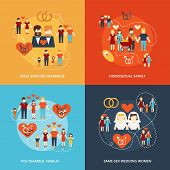 pic of gay wedding  - Nontraditional family 4 flat icons composition gay and lesbian homosexual couples and polygamy abstract isolated vector illustration - JPG