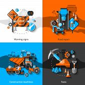 stock photo of construction machine  - Road repair design concept set with warning signs construction machines and tools flat icons isolated vector illustration - JPG