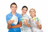 Happy People Holding  Euro Money