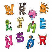 image of funny ghost  - Funny monster cartoon alphabet  - JPG