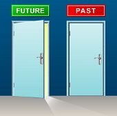 image of past future  - illustration of future and past doors concept - JPG