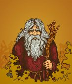 image of warlock  - Illustration of a old man with staff - JPG
