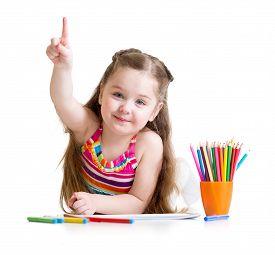 picture of pencils  - Happy kid little girl drawing with pencils in preschool - JPG