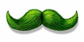 pic of moustache  - Green moustache or mustache on a white background with a shadow as a symbol for spring and nature or saint patricks day celebration or a vegetarian design element - JPG