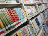 foto of book-shelf  - Books in round library shelf - JPG