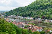 stock photo of old bridge  - Overview of Old and New Town Neighborhoods on Banks of Neckar River Spanned by Old Bridge - JPG