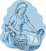 foto of maids  - Etching engraving handmade style illustration of a laundry maid woman with basket full of clothes on isolated background - JPG