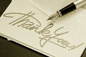 stock photo of thank you  - thank you note and pen  - JPG