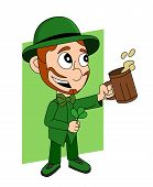 foto of leprechaun  - Illustration with a smiling leprechaun wearing a green suit a bow - JPG