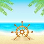 foto of steers  - Summer vacation background - JPG
