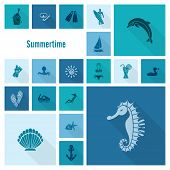 stock photo of sailfish  - Summer and Beach Simple Flat Icons - JPG