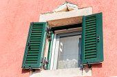 image of greek-island  - wooden green window on traditional greek house Corfu island - JPG