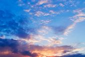 picture of cloudy  - Bright sunset - JPG
