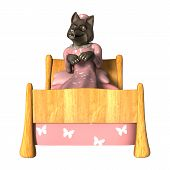 picture of white wolf  - 3D digital render of a fairytale wolf in a night dress laying in a bed isolated on white background - JPG