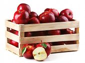 stock photo of wooden crate  - Red apples in wooden crate isolate on white - JPG