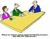 pic of lol  - Business cartoon of business meeting and boss asking - JPG