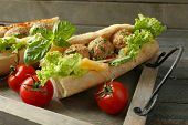 stock photo of meatball  - Homemade Spicy Meatball Sub Sandwich on tray - JPG