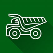 foto of dump-truck  - Classic dump truck modern design line flat style icon with shadow - JPG