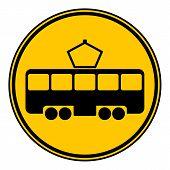 stock photo of tram  - Tram button on white background - JPG