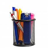 picture of marker pen  - Stationary holder with pens markers and stapler - JPG