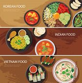 picture of korean  - asia street food web banner korean food indian food vietnam food flat design - JPG